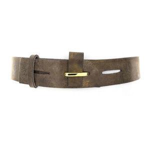 ADA Metallic Bronze Leather Flap Closure Belt, NWT